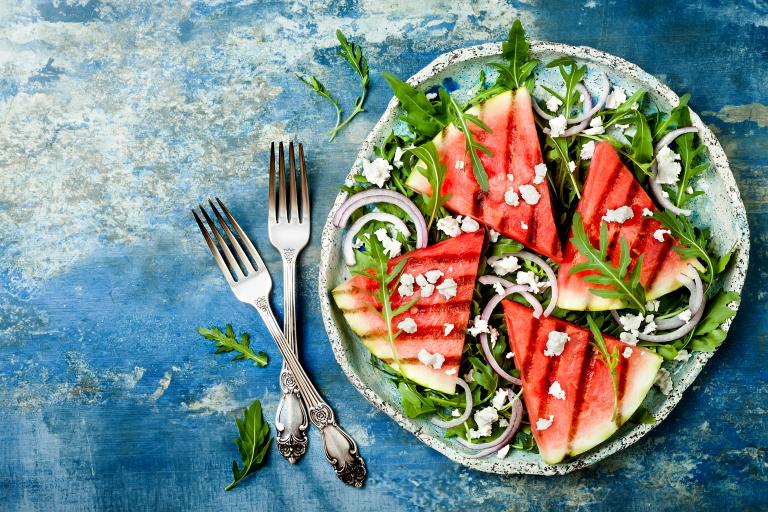 Gegrillte Wassermelone mit Feta