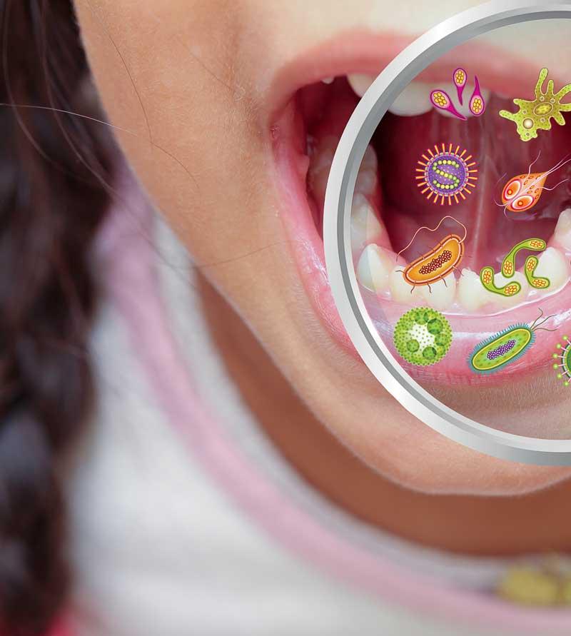 Mundmikrobiom Bakterien im Mund - Nahaufnahme
